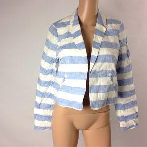 Anthropologie Ett Twa Linen Striped Work Jacket 2